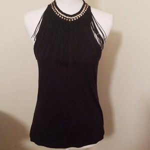 Tops - Halter black top with detail neck siz small